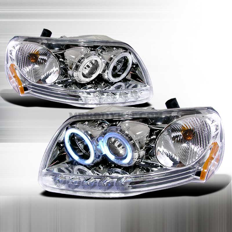 1997-2003 Ford F-150 (CCFL) HALO PROJECTOR HEADLIGHTS CHROME
