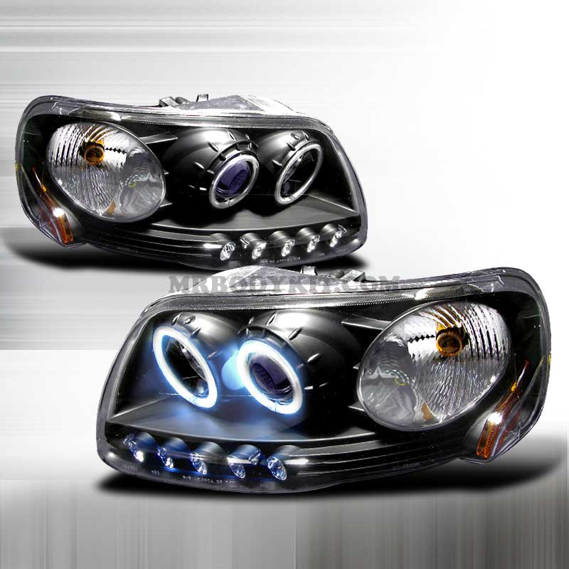1997-2003 Ford F-150 (CCFL) HALO PROJECTOR HEADLIGHTS BLACK
