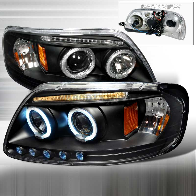 1997-2003 Ford F-150 LED PROJECTOR (CCFL) HALO HEADLIGHTS BLACK