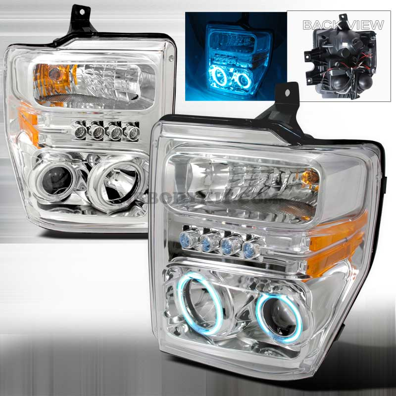 2008-2010 Ford F-250 / 350 / 450 CCFL HALO PROJECTOR HEADLIGHTS CHROME