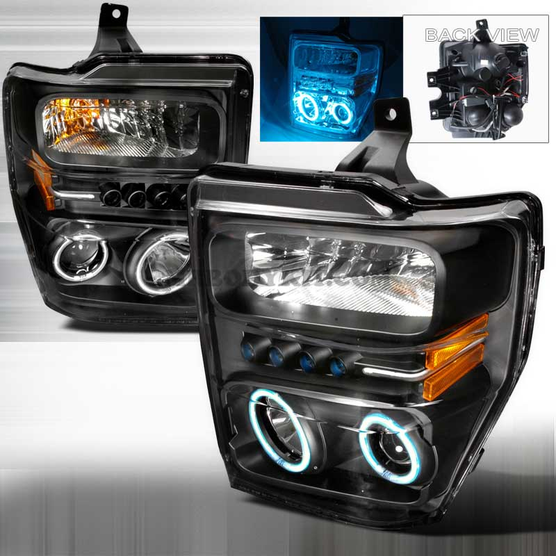 2008-2010 Ford F-250 / 350 / 450 CCFL HALO PROJECTOR HEADLIGHTS BLACK