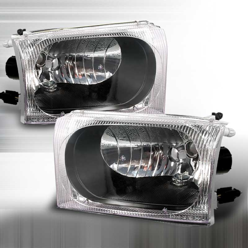 1999-2004 Ford F-250 CRYSTAL HOUSING HEADLIGHTS APC BLACK