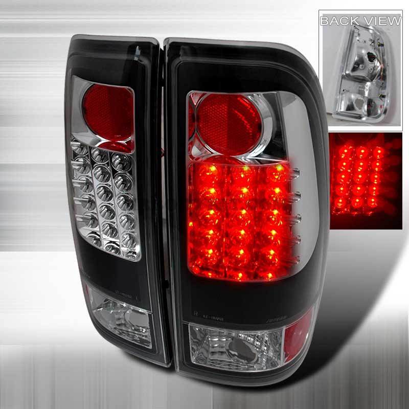 1997-2003 Ford F150 F250 Euro LED Tail Lights - Black