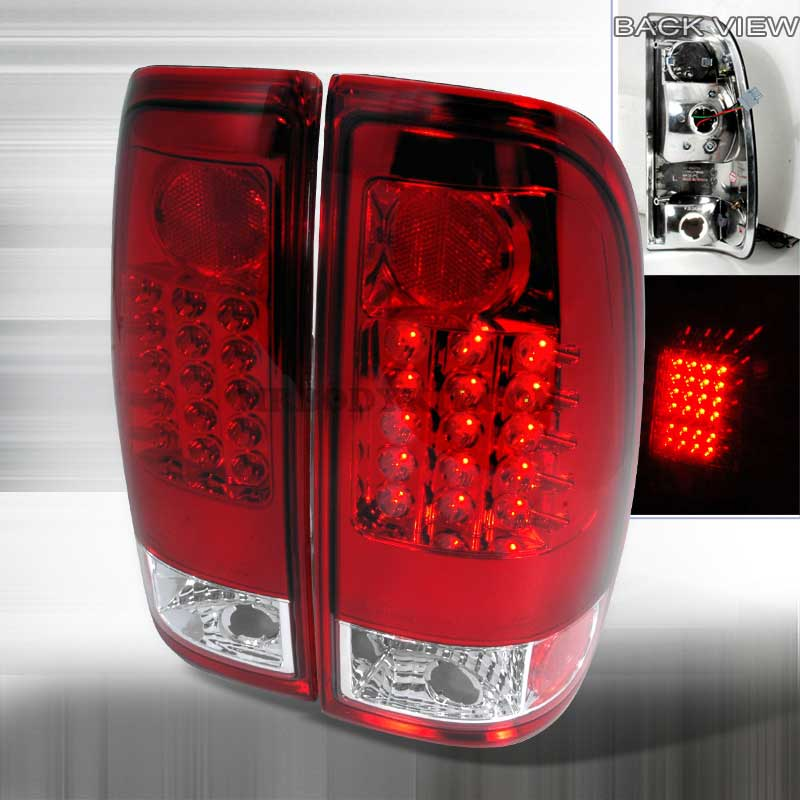 1997-2003 Ford F150 F250 Euro LED Tail Lights - Red / Clear