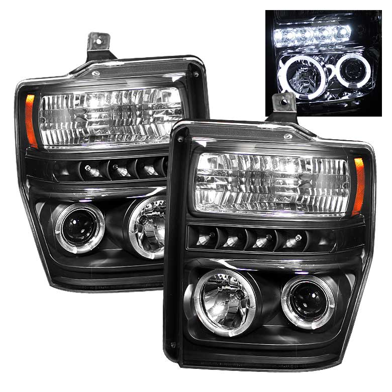 2008-2010 Ford F-250 / 350 / 450 HALO LED PROJECTOR HEADLIGHTS V2 BLACK