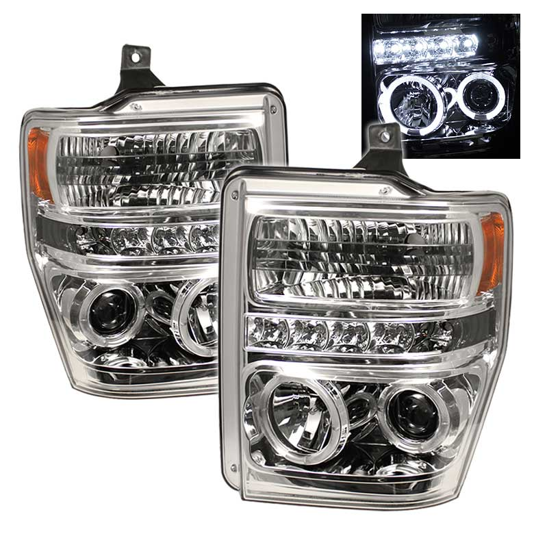 2008-2010 Ford F-250 / 350 / 450 HALO LED PROJECTOR HEADLIGHTS V2 CHROME