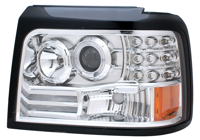1992-1996 Ford F-150 / F-250 / Bronco HALO PROJECTOR HEADLIGHTS CHROME