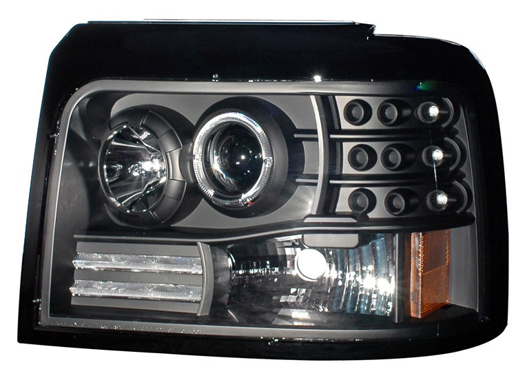 1992-1996 Ford F-150 / F-250 / Bronco HALO PROJECTOR HEADLIGHTS BLACK