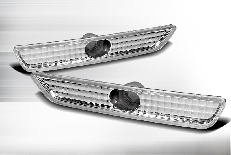 2010-2014 Mustang Front Bumper Reflector Parking Light - CHROME (Pair)