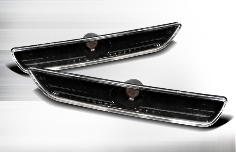 2010-2014 Mustang Front Bumper Reflector Parking Light - BLACK (Pair)