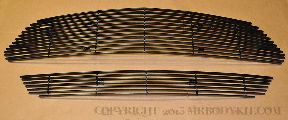 2015-2017 - 2PC Upper / Lower Billet Grille kit - BLACK (GT, V6, ECO BOOST, 50th) (1pc Upper & 1pc Lower)