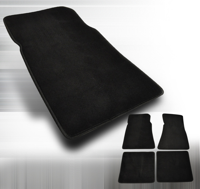 1973-1993 Mustang Coupe + Convertible 4PC Floor Mat kit - Black - No Logo