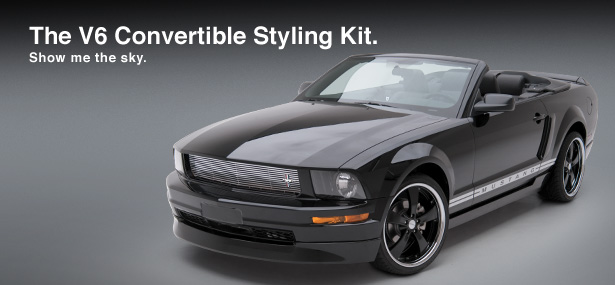 05-09 Mustang 3D Carbon V6 Styling Body kit 5PC with Dual Exhuast Skirt + Wing