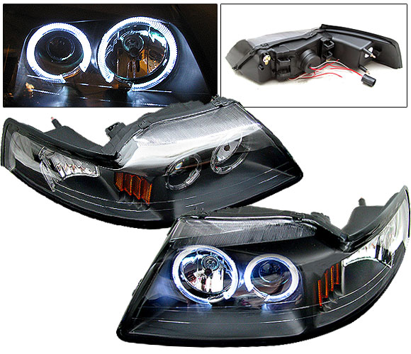 99-04 Mustang Headlights PROJECTOR Twin Halo - GEN 4 - BLACK (Pair)