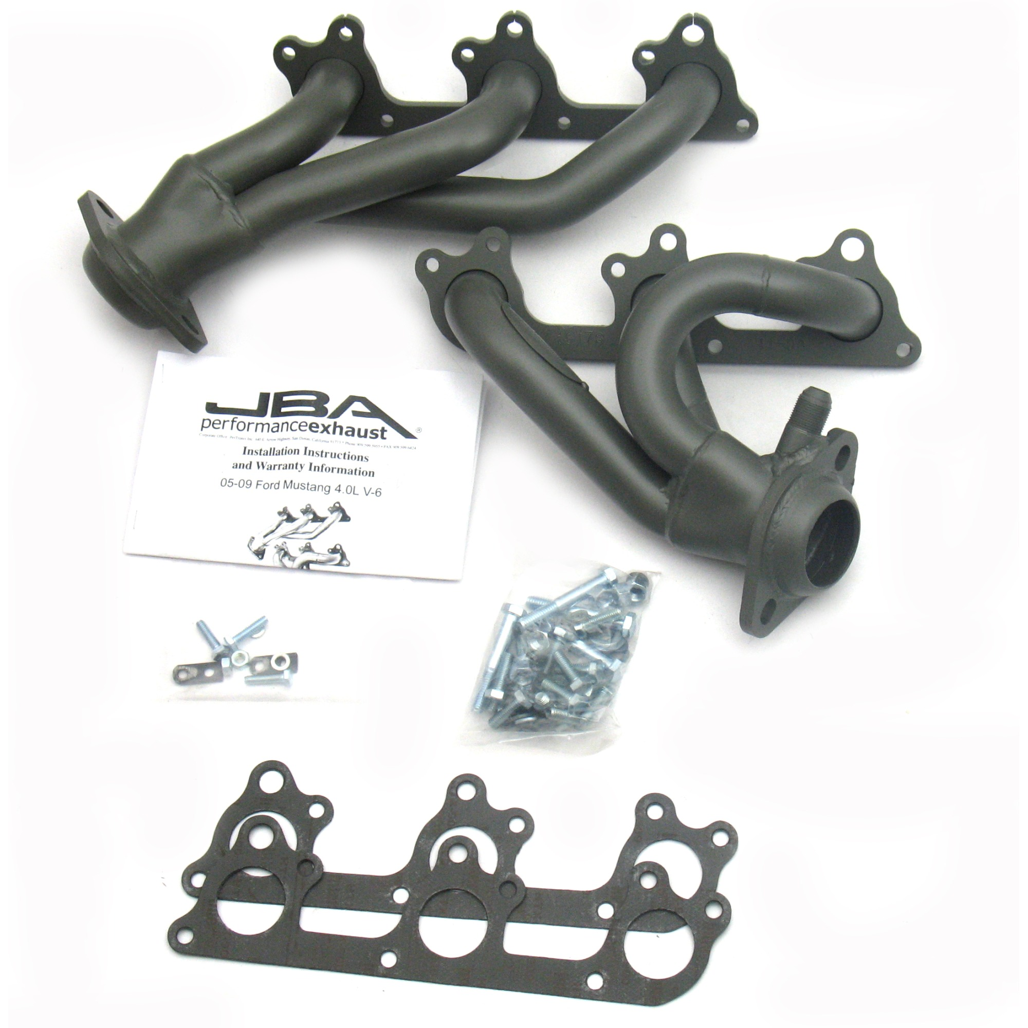 2005-2010 Mustang V6 JBA Cat-Forward Shorty Headers (4.0L) - Titanium Ceramic